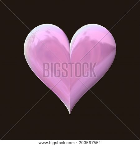 3d shiny reflective lila violet pink heart on dark background