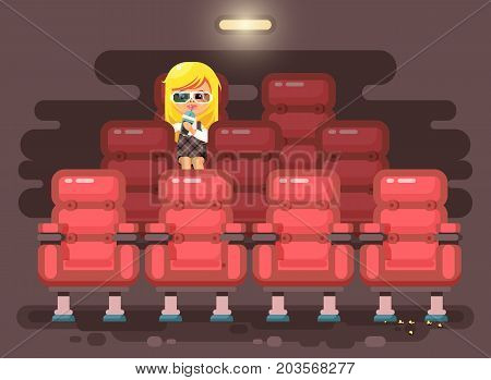Stock vector illustration cartoon character child pupil, schoolgirl, lonely blonde girl sits in armchair, cinema hall, eat popcorn, watching film or movie in 3d glasses flat style