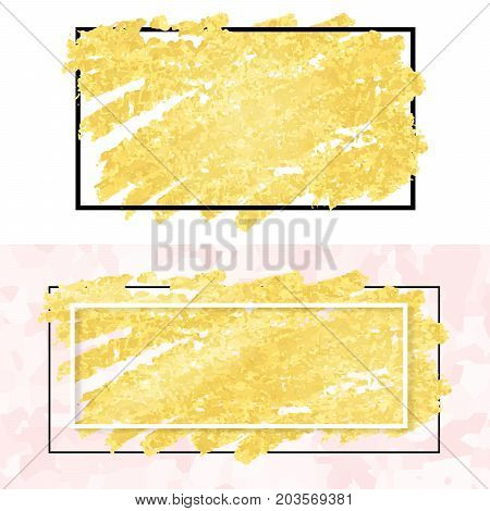 vector illustration of gold paint smudge and frame for design of banners cards posters tickets