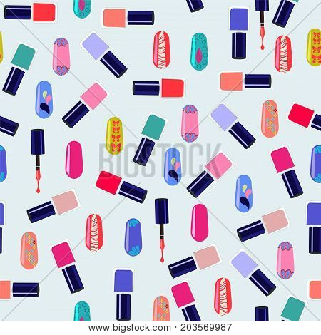 Vector pattern of colorful nail polish bottles. Nails art beauty salon background - Illustration