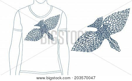 Drawing by hand in abstract style. Vector illustration of bird of pen sketch for print design cover of notebook t shirt and tattoo. Tribal totem animal.
