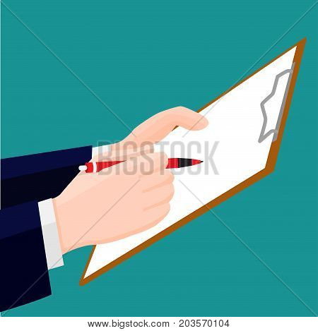 Hand signing blank red clipboard with white a4 paper. Business hold pen or pencil and clipboard. Flat design style Vector Illustration.