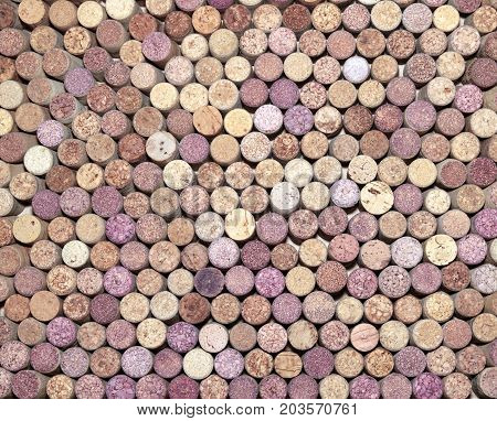 Brown background of wooden wine corks close-up