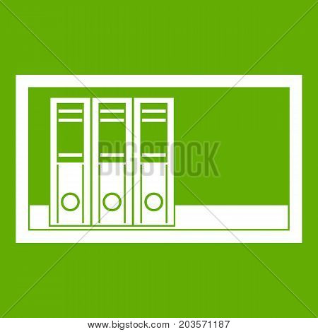 Office folders on the shelf icon white isolated on green background. Vector illustration
