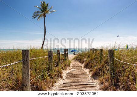 Footbridge to the Smathers beach - Key West, Florida