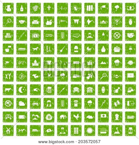 100 cow icons set in grunge style green color isolated on white background vector illustration
