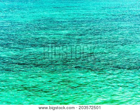 Crystal turquoise green sea ocean clear water at Lipe Island Satun Thailand.