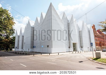 SZCZECIN, POLAND - August 13, 2017: View on the modern building of the Mieczyslaw Karlowicz Philharmonic Orchestra in Szczecin city in Poland