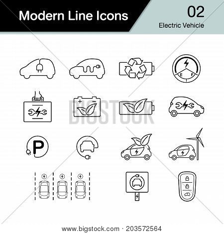 Electric Car Icon Set 2. Hybrid Vehicle Symbol. Eco Friendly Auto Or Electric Vehicle Concept. Moder