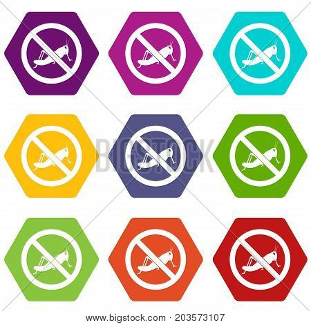 No locust sign icon set many color hexahedron isolated on white vector illustration