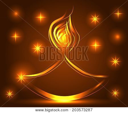 Diwali. Light Background. Lamp, Oil Lamp With A Burning Fire On A Warm Brown Background