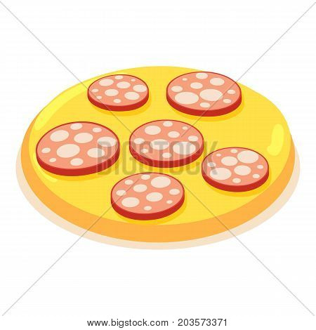 Chopped sausage icon. Isometric illustration of chopped sausage vector icon for web
