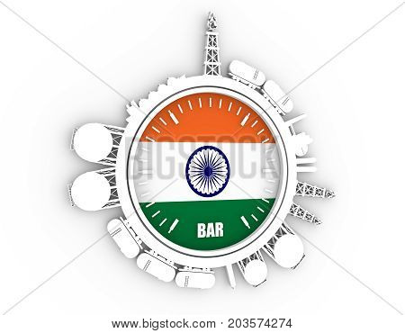 Circle with energy relative silhouettes. Design set of natural gas industry. Objects located around the manometer circle. 3D rendering. Flag of the India