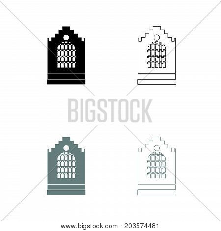 Church Building Black And Grey Set Icon .