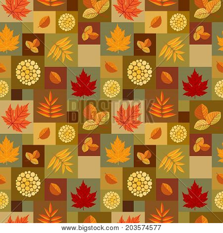 Autumn patchwork pattern with colorful leaves of maple, aspen and rowan with red berries. Seamless ornament. Fall season theme. Vector illustration.