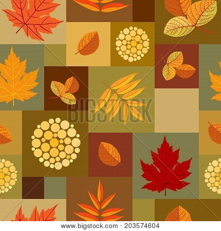 Autumn leaves patchwork pattern. Colorful leaves of maple, aspen and rowan with abstract berries. Seamless ornament. Vector illustration.