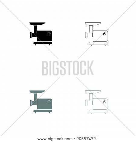 Electric Meat Mincer Black And Grey Set Icon .