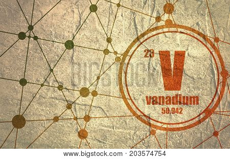 Vanadium chemical element. Sign with atomic number and atomic weight. Chemical element of periodic table. Molecule And Communication Background. Connected lines with dots. Grunge distress texture.
