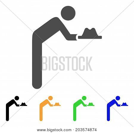 Servant With Hat icon. Vector illustration style is a flat iconic servant with hat symbol with black, gray, green, blue, yellow color variants. Designed for web and software interfaces.