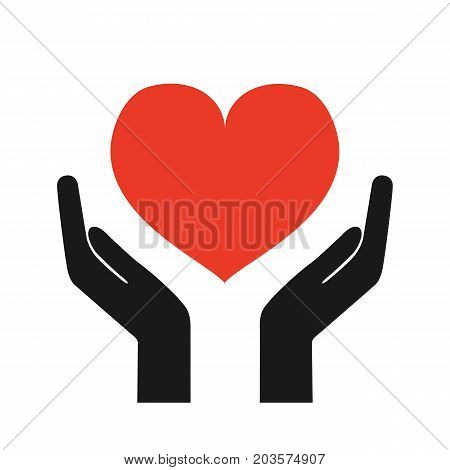 Charity day. Hands with a heart. Donate concept of care and love. Vector stock.