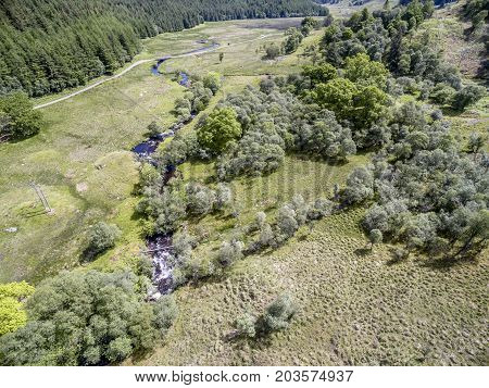 Aerial view of the river Nell, Argyll, Scotland