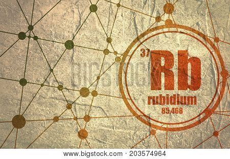 Rubidium chemical element. Sign with atomic number and atomic weight. Chemical element of periodic table. Molecule And Communication Background. Connected lines with dots. Grunge distress texture.