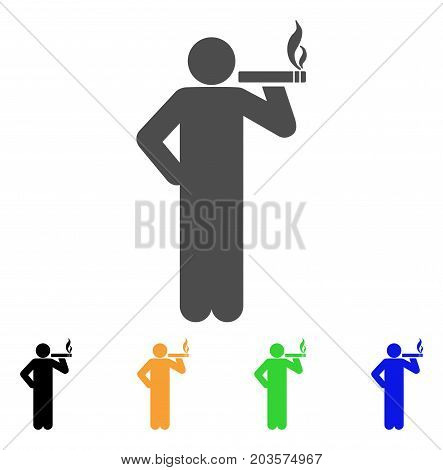 Smoking Man icon. Vector illustration style is a flat iconic smoking man symbol with black, gray, green, blue, yellow color variants. Designed for web and software interfaces.