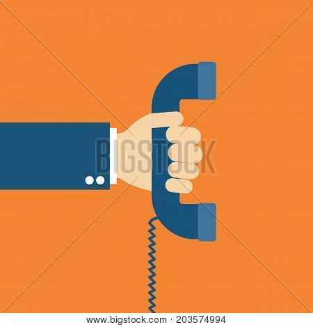Hand holdingHand holding telephone. Old telephone. Vector stock.