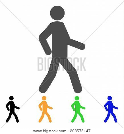 Walking Man icon. Vector illustration style is a flat iconic walking man symbol with black, gray, green, blue, yellow color versions. Designed for web and software interfaces.