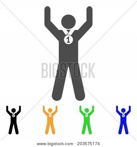 Winner Hands Up icon. Vector illustration style is a flat iconic winner hands up symbol with black, grey, green, blue, yellow color versions. Designed for web and software interfaces.