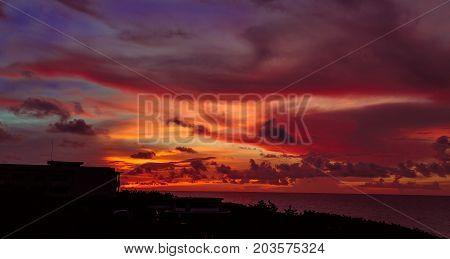amazing gorgeous magic view of sunset time with beautiful warm sky at Santa Maria Cuban island
