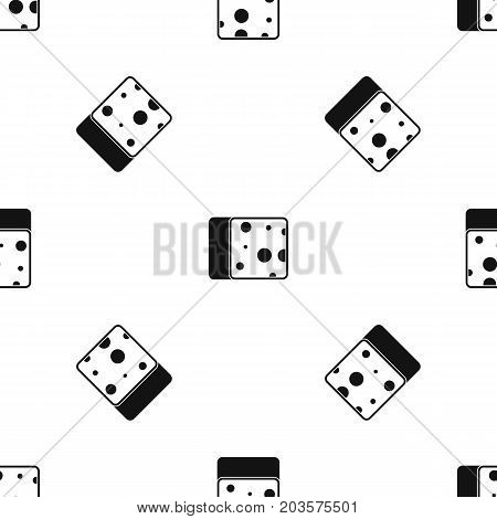 Cheese pattern repeat seamless in black color for any design. Vector geometric illustration
