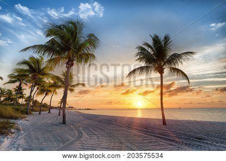 Sunrise on the Smathers beachh - Key West, Florida