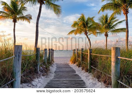 Footbridge to the Smathers beach on sunrise - Key West, Florida