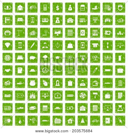 100 credit icons set in grunge style green color isolated on white background vector illustration