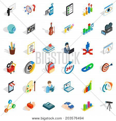 Telescope icons set. Isometric style of 36 telescope vector icons for web isolated on white background