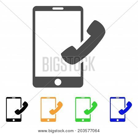 Call Smartphone icon. Vector illustration style is a flat iconic call smartphone symbol with black, gray, green, blue, yellow color versions. Designed for web and software interfaces.