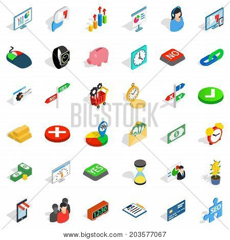 Mouse click icons set. Isometric style of 36 mouse click vector icons for web isolated on white background