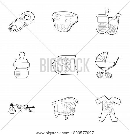 Childhood icons set. Outline set of 9 childhood vector icons for web isolated on white background