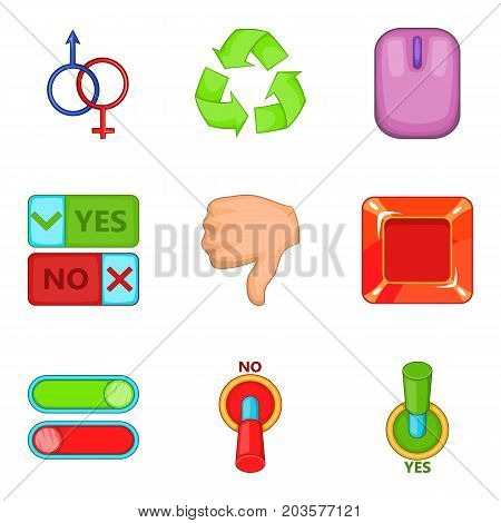 Switch icons set. Cartoon set of 9 switch vector icons for web isolated on white background