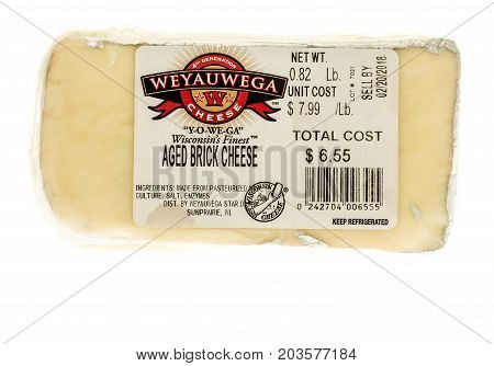 Winneconne WI - 7 September 2017: A package of Weyauwga aged brick cheese on an isolated background.