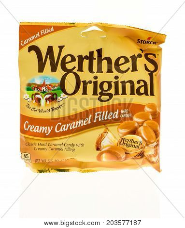Winneconne WI - 4 September 2017: A bag of Werther's original creamy caramel filled hard candies on an isolated background.