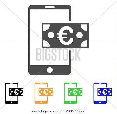Euro Mobile Cash icon. Vector illustration style is a flat iconic euro mobile cash symbol with black, gray, green, blue, yellow color versions. Designed for web and software interfaces.