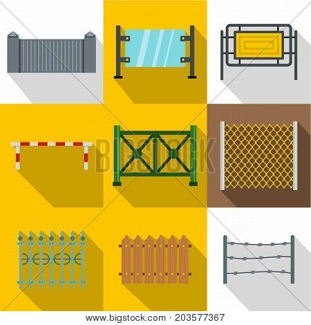 Sections of fence icon set. Flat style set of 9 sections of fence vector icons for web design