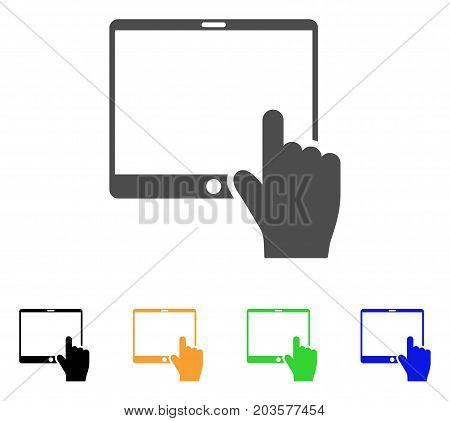 Hand Points Mobile Tablet icon. Vector illustration style is a flat iconic hand points mobile tablet symbol with black, gray, green, blue, yellow color versions.