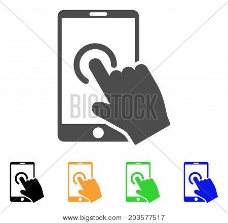 Hand Touch Smartphone icon. Vector illustration style is a flat iconic hand touch smartphone symbol with black, gray, green, blue, yellow color versions. Designed for web and software interfaces.