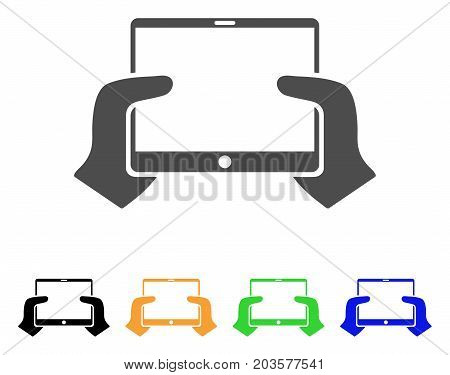 Hands Hold PDA icon. Vector illustration style is a flat iconic hands hold pda symbol with black, grey, green, blue, yellow color versions. Designed for web and software interfaces.