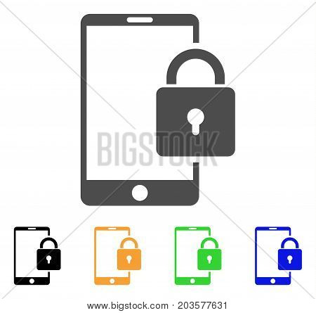 Lock Smartphone icon. Vector illustration style is a flat iconic lock smartphone symbol with black, grey, green, blue, yellow color versions. Designed for web and software interfaces.