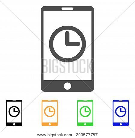 Mobile Clock icon. Vector illustration style is a flat iconic mobile clock symbol with black, grey, green, blue, yellow color variants. Designed for web and software interfaces.