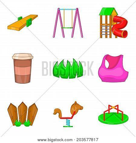 Kid playground icon set. Cartoon set of 9 kid playground vector icons for web design isolated on white background